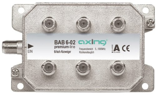 Axing BAB 6-02 Derivatore antenna TV 6 Vie (tipo di terminale) 5-1006 MHz, Metallico