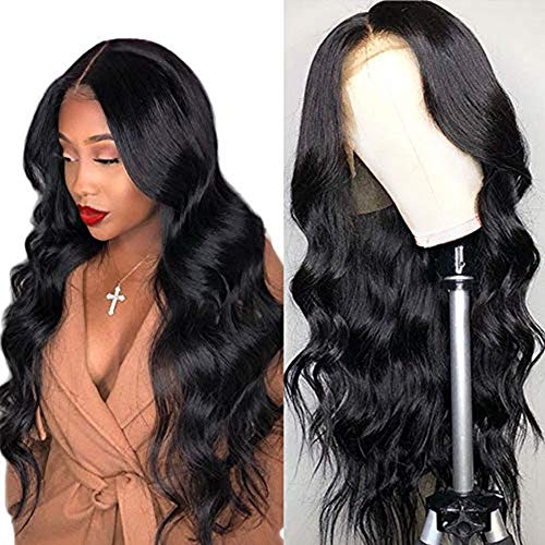 Amella Hair Human Hair Wigs for Women Pre Plucked Hairline 150% Denisty Brazilian Body Wave Lace Front Wigs with Human Hair with Baby Hair Natural Color(16Inch)