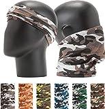 "Leevo Pattern Bold Headwear Scarf Boho Headband Wrap Shield Neck Gaiter Bandana (Free Size (18.5"" 9.25""), Camouflage Military No.2, 6pcs total)"