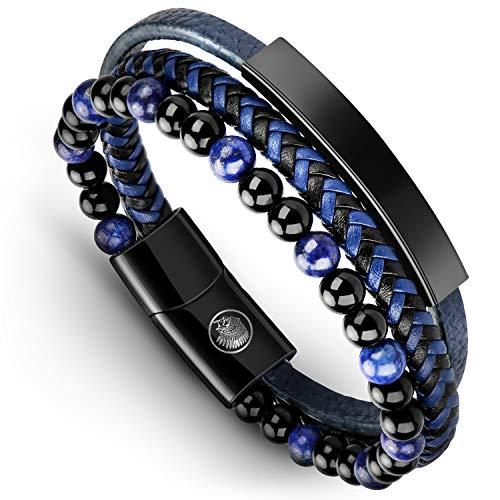 Casisto.J Lederarmband Herren Armband Herren Männer Leder Edelstahl Gravur Schwarz Braun Geflochten mit Magnet Verschluss (Blue, 22)