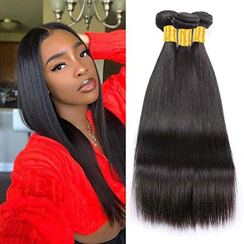 Musi Brazilian Human Hair Brasilianisches Menschliches Haar Virgin Straight Brazilian Hair Bundles Human Hair Weave Echthaar Extensions 300g Natural Black 10 12 14 Inch