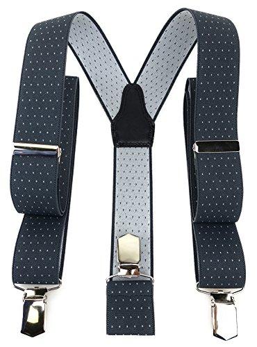 TigerTie Unisex Hosenträger in Y-Form mit 3 extra starken Clips - Farbe in anthrazit grau silber gepunktet - hochwertige Verarbeitung - Breite 35 mm