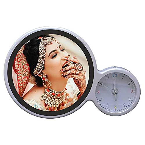 Sharma Cards™ Personalized Customized Magic Mirror/5 Photo College Photo Frame with LED Light and Clock (Size: 6.5 X 6.5)