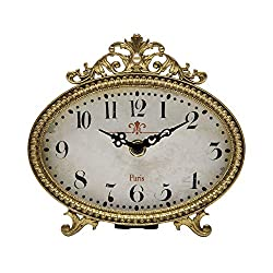 NIKKY HOME Vintage Table Clock, French Turquoise Color Rococo Style Desk Clock Battery Operated Rustic Design, Home Décor for Living Room, Bedroom, Bedside, Desk, Gift Clock - Gold
