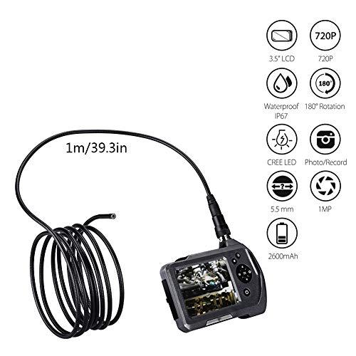LJYNKJ Industrie Endoskopkamera Hand Endoskop-Inspektionskamera mit 3,5-Zoll-LCD-Bildschirm 5,5 mm Durchmesser Flexible Sonde wasserdichte Kamera(1M)
