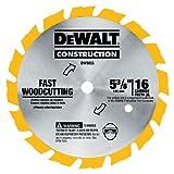 DEWALT 5-3/8-Inch Circular Saw Blade, Carbide, 16-Tooth (DW9055) , Yellow
