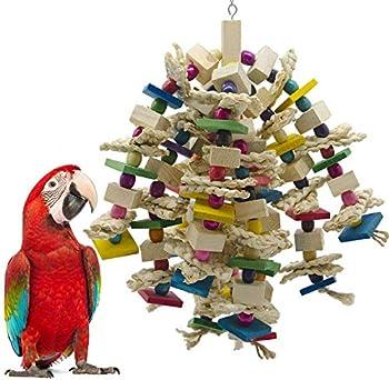 Wonninek Grand Perroquet à mâcher Jouet Oiseau Perroquet Blocs Noeuds déchirure Jouet Cage à Oiseaux Morsure Jouet pour cacatoès africains aras Gris