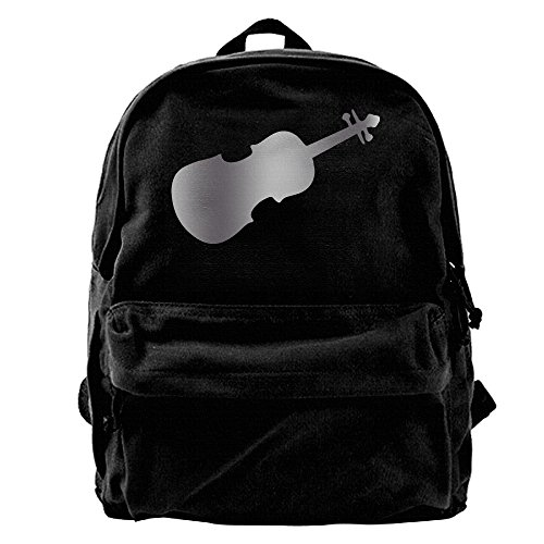 Violin Viola Cello Music Platinum Style Unisex Vintage Canvas Backpack Travel Rucksack Laptop Bag Daypack Black