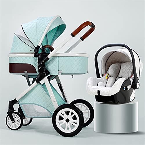 LQJin 3 en 1 Cochecito de bebé de Cuero de Lujo Real Marco de Aluminio de Alto Paisaje Plegable kinderwagen Cochecito con Regalos Carro de bebé (Color : 3in1 Green)