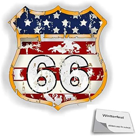 1 Stück Usa Route 66 Aufkleber In Verschiedenen Größen Amerika Aufkleber R20 1 5 10 X 10 Cm Auto