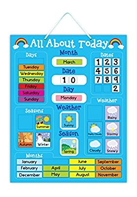 5K Education All About Today Weather & Calendar Magnetic Board - Blue by 5K Education