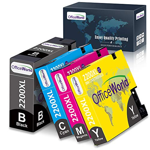 OfficeWorld Compatible Ink Cartridge Replacement for Canon PGI-2200XL 2200 XL, for Maxify MB5320 MB5420 MB5120 MB5020 iB4020 iB4120 Printer (1BK, 1C, 1M, 1Y) 4 Pack