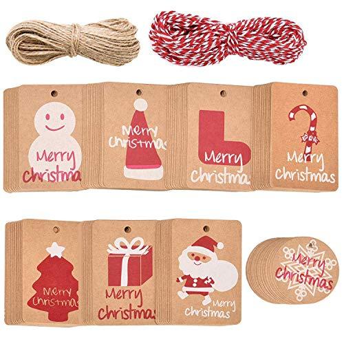 ABOAT 160 etiquetas de regalo de papel kraft navideño, etiquetas colgantes con cuerda de 40 m, 8 diseños para fiestas de Navidad, bodas, fiestas, suministros de fiesta