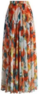 Zimaes Women's Full Length Flyaway Flowy Oversized Floral Skirt