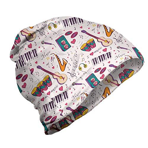 ABAKUHAUS Música Gorro Unisex, Altavoces Tambores Records, Tela Suave 100% Microfibra Estampada Ideal para Actividades al Aire Libre, Multicolor