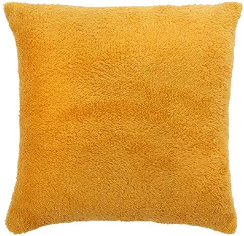 Maple Textiles Teddy Bear Fur Super Soft Cosy Cuddly Fluffy Cushion Cover With Luxury Fleece Reverse 18' x 18' (Ochre Mustard Gold)