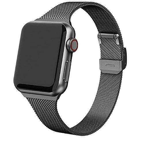 Mediatech Ersatzarmband Kompatibel mit Apple Watch Armband 44mm 42mm 40mm 38mm Edelstahl-Armband, Wechselarmband mit Schnellverschluss kompatibel mit iWatch Series 6/5/4/3/2/1 SE (42mm/44mm Spacegray)