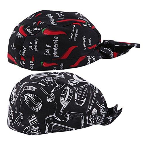 Sharplace 2 Stück Kochmütze Bistromütze Mütze Koch Berufsbekleidung Bistromütze Bistrohut Bandana Kopftuch - Farbe 2, wie beschrieben