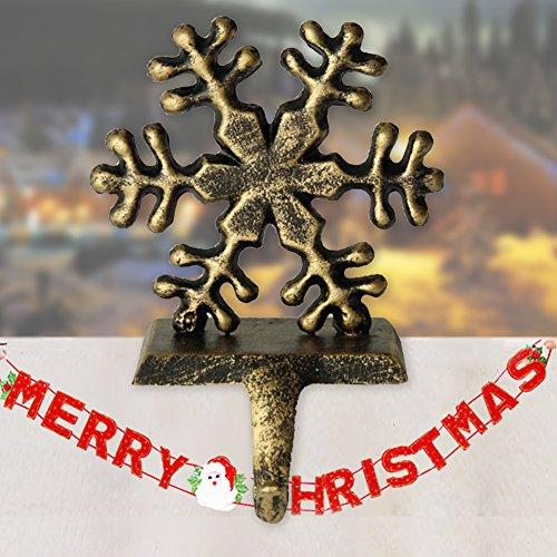 LoveStory 2 Stück Vintage-Weihnachtsstrumpfhalter mit Schneemann Santa Schneeflocke Hirsch Eisen Haken Weihnachten Kamindekoration 1 X Snowflake