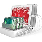 Hercules Tuff Charging Station for Multiple Devices - 6 USB Fast Ports - Short Cables Included - White
