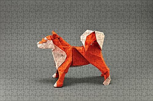 LHJOY Rompecabezas Adultos Puzzle 500 Piezas Animales de Origami de Perro Akita Inu en Papel Regalo de cumpleaños 52x38cm
