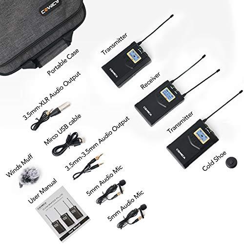 Comica Lavalier Mikrofon System Kamera UHF 48-Kanäle Wireless Dual Kabellos Funkmikrofon Set Ansteckmikrofon 3,5mm Klinke CVM-WM100 Plus für Interview ENG EFP DV DSLR Canon Sony Nikon Panasonic