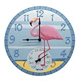 Taylor Precision Products 14' Flamingo Clock with Thermometer, One Size, Multicolored