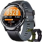 Smartwatch, Reloj Inteligente Hombre, Impermeable IP68 Pulsera Actividad Monitor de Sueño Calorías Podómetro Pulsómetro Notificación de Llamada y Mensaje para Android y iOS (Gris Negro)