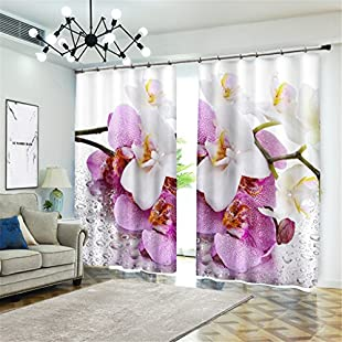 Customer reviews Dotted Flowers Blackout Curtains,100% Polyester Surface Fabric Room Darkening Noise Reducing Solid Blackout for Kitchen Living Room Bedroom Bay Window/Home Decoration, 142*98 inch