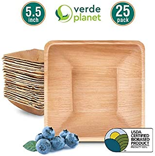Verde Planet - 5.5 inch Square Palm Leaf Bowls - Biodegradable, Ecofriendly, Disposable, Sturdy, Elegant, Premium Quality Bowls, USDA Certified - 25 Count