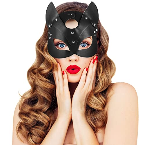 UNOLIGA Halloween Catwoman Máscara, Antifaz Sexy para Mujer Adultos, Máscara Veneciana Antifaz Carnaval, Máscara de Cuero PU Negro, Mascaras de Gato para Fiesta de Navidad, Accesorios Disfraz