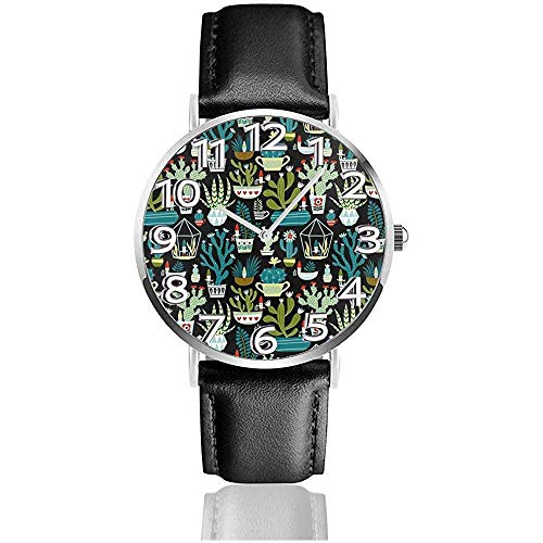 Succulents Cacti Terrarium Leder-Armbanduhr 3D Bedruckte Armbanduhr Kratzfest Quarzuhr leicht zu tragen Uhren