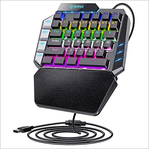 Hiwings Tastiera da gaming meccanica con illuminazione RGB arcobaleno, interruttore blu, mini tastiera portatile con poggiapolsi e 2 tasti Marco, piccola tastiera da gioco con OTG per PC Gamer