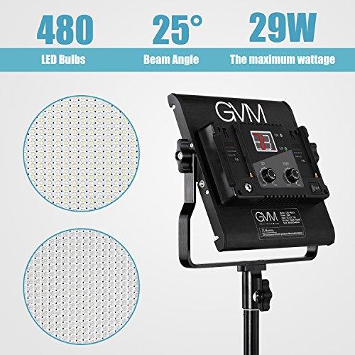LED Video Light Kit GVM Dimmable Bi-Color Variable 2300K~6800K with Digital Display for Studio. CRI97+ TLCI97 + & Brightness of 10~100% Metal Housing for Video Photography Lighting 29W 3 Kit