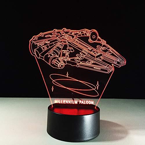 Halcón Milenario Lámpara Decorativa de Mesa de 3D con Luz de Noche Luces Led Funciona con Pilas para Fiestas Bodas Festivales Decoración del Hogar Disposición Romántica