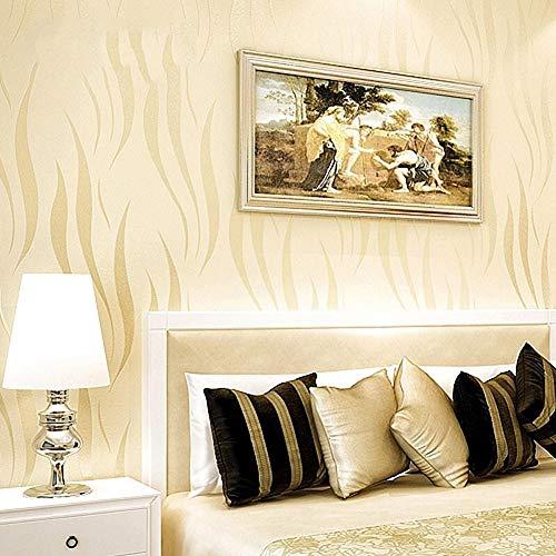 Behang, Modern en eenvoudig, Behang, Plain Minimalist 3D Non-Woven Fabric, TV Achtergrond Behang, Woonkamer, Slaapkamer, Warm, Volledige Studeerkamer, Eetkamer, Slaapbank, 0.53 * 10m Modern design size Creamcolor