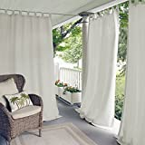 Elrene Home Fashions Matine Indoor/Outdoor Solid Tab Top Single Panel Window Curtain Drape, 52'x84' (1, White