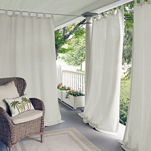 """Elrene Home Fashions Indoor/Outdoor Solid UV Protectant Tab Top Single Window Curtain Panel Drape for Patio, Pergola, Porch, Deck, Lanai, and Cabana Matine White 52""""x95"""" (1 Panel)"""