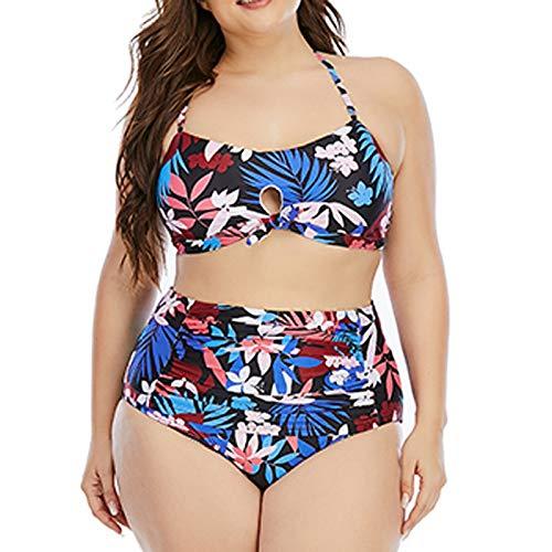 JOSDA Traje de baño casual de moda para mujer, estilo retro de playa, estampado push-up acolchado, bragas de cintura alta, conjunto de tankini