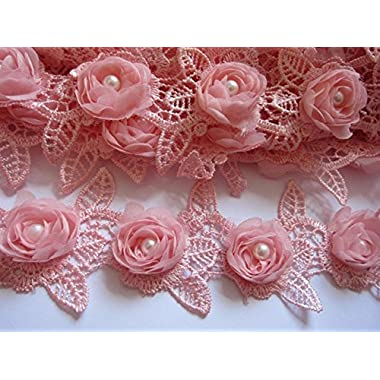 YYCRAFT Pack Of 2y Chiffon Rose 2.5  Lace Edge Trim Pearl Wedding Applique DIY Sewing Craft-Pink