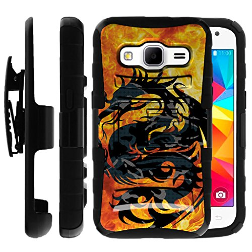 Untouchble Compatible with Samsung Galaxy Core Prime Case | Samsung Prevail LTE Holster Case [Heavy Duty]- Shockproof Swivel Holster Case with Built in Kickstand - Red Fire Dragon