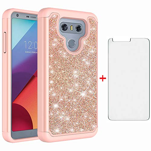 Phone Case for LG G6 with Tempered Glass Screen Protector Cover Rugged Bling Glitter Slim Hybrid Silicone Cell Accessories LGG6 ThinQ LG6 Thin Q G 6 Plus G6+ 6G VS988 H872 Cases Women Pink Rose Gold