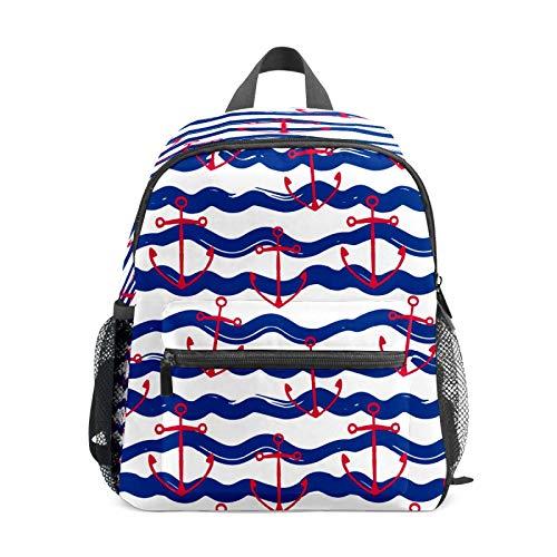 Mochila infantil para niños de 1 a 6 años de edad, mochila perfecta para niños y niñas con ancla de barco roja, rayas azules