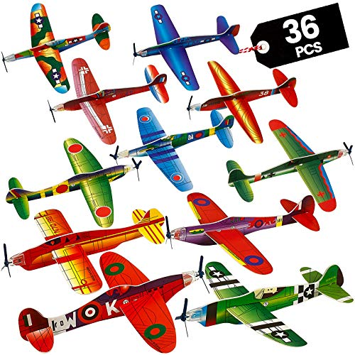 Glider Planes Bulk - Pack of 36-8 Inch Bomber Airplane Gliders for kids, Foam Birthday Party Favor Plane Toy Kits and Prize Reward Toys