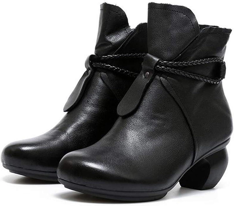 Hy Damenstiefeletten, Herbst Winter Leder Heterotypic Ferse Komfort Ritter Stiefel, Martins Stiefel, Damenmode Stiefel, Formelle Schuhe (Farbe   Schwarz, Größe   39)  | Hervorragende Eigenschaften
