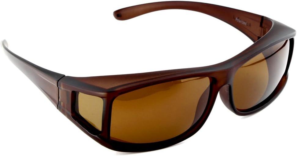 ACTIVE SOL Sur-lunettes solaires pour homme | Sur-lunettes solaires UV400 | polarisées | Sur-lunettes polarisantes pour porteurs de lunettes Marron Mat
