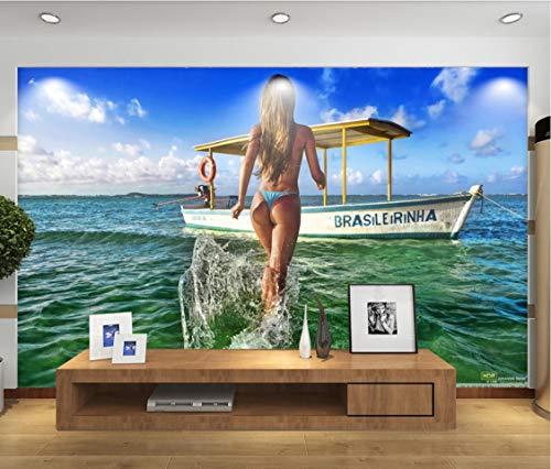 Anpassbare Größe 3D Fototapete Europäischen Sexy Bikini Schönheit Wandbild Wohnzimmer Sofa Tv Hintergrund Schlafzimmer Seidentuch 500(B) X280(H) Cm