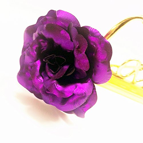 Generita 1pcs 24K Oro Rosa Flor Chapado Regalo de la San Valentín Mujer épouse Novia romántica Regalo de Amor Embalaje Immortal Mejor Madre cumpleaños Sac-Cadeau púrpura púrpura