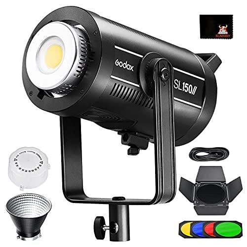 Godox SL150WII LED Dauerlicht Videoleuchte 150W Licht 5600 ± 200K 58000lux@1m CRI 96 TLCI 97 Genaue Farbe, Eingebaute 8 FX-Lichteffekte, Ultra-leiser Lüfter(SL-150W II)