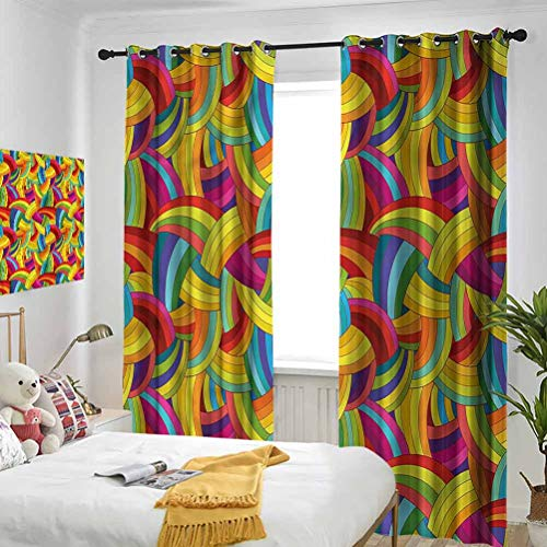 Abstract Blackout Curtains Rainbow Tone Psychedelic 3 Pass Microfiber Noise Reducing Thermal Insulated Ring Top Curtains/Drapes for Kitchen, Bedroom and Living Room W42 x L108 Inch x2